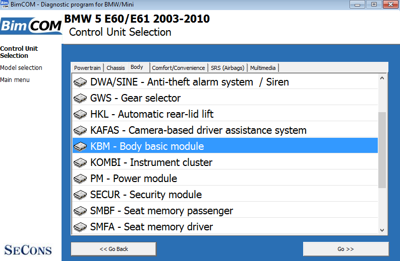 bimcom03: OBD-II diagnostic program screenshot