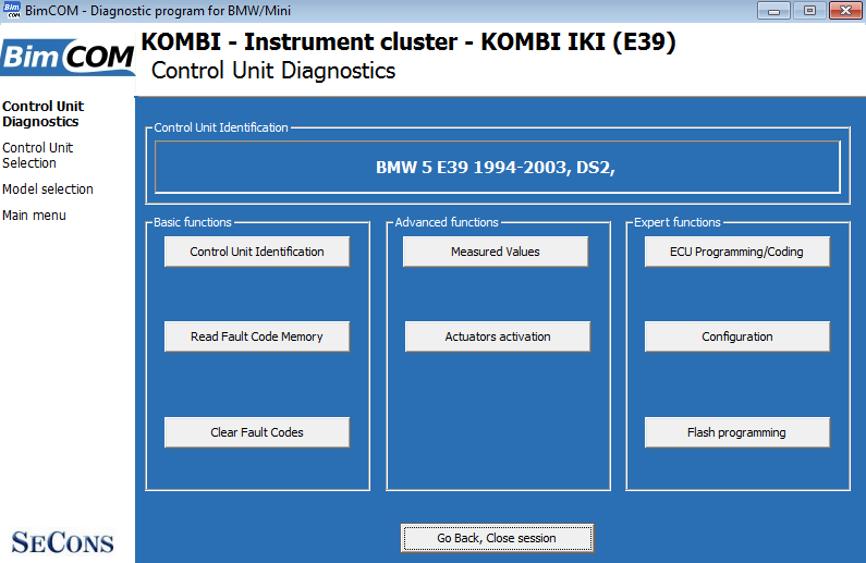 bimcom04: OBD-II diagnostic program screenshot