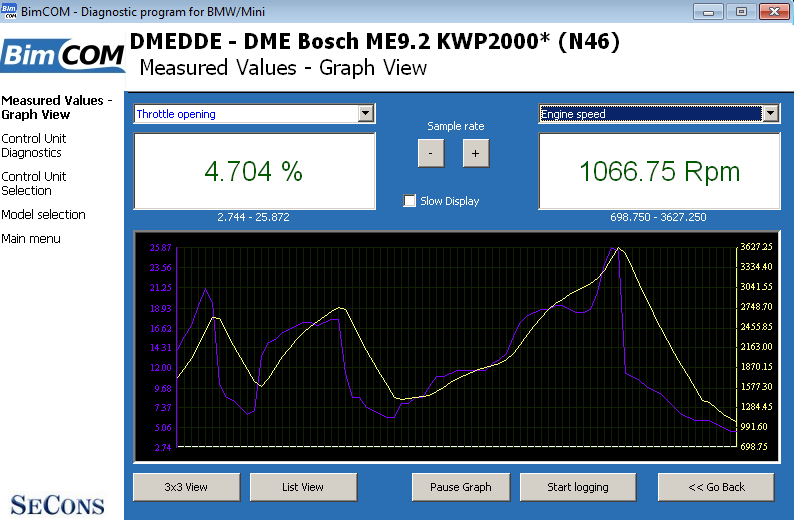 bimcom08: OBD-II diagnostic program screenshot