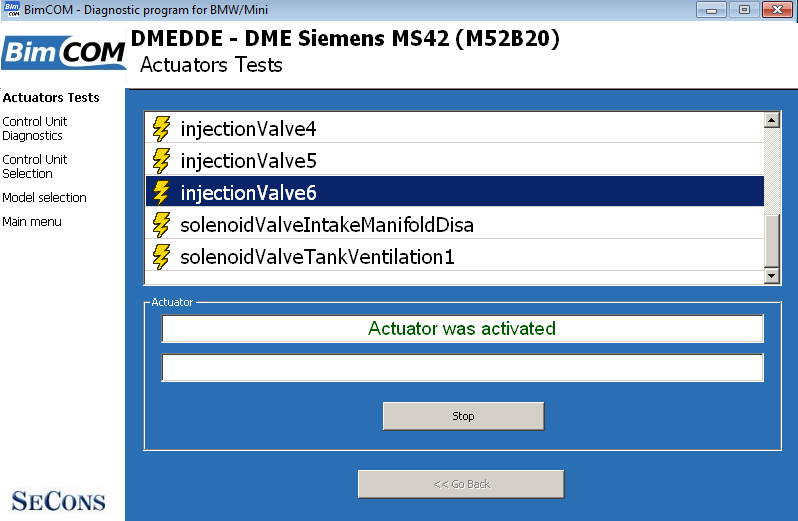 bimcom11: OBD-II diagnostic program screenshot