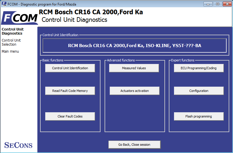 fcom03: OBD-II diagnostic program screenshot