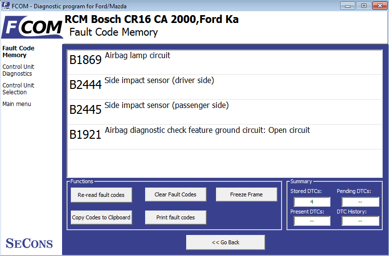 fcom05: OBD-II diagnostic program screenshot
