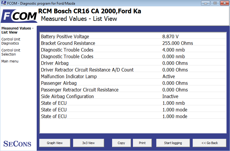 fcom08: OBD-II diagnostic program screenshot