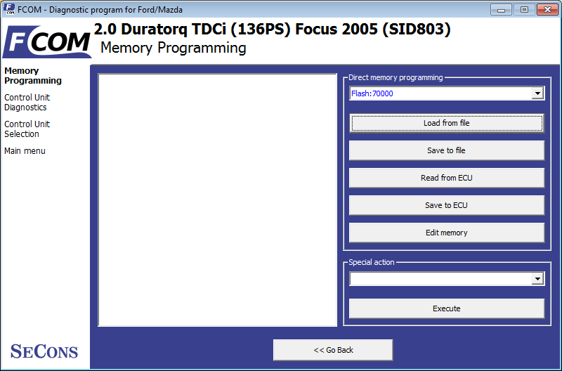 fcom17: OBD-II diagnostic program screenshot