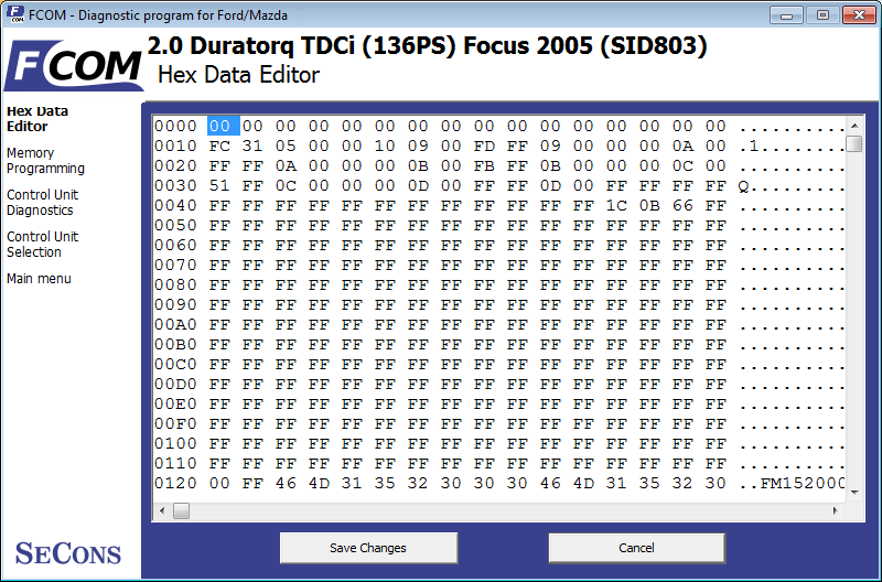fcom18: OBD-II diagnostic program screenshot