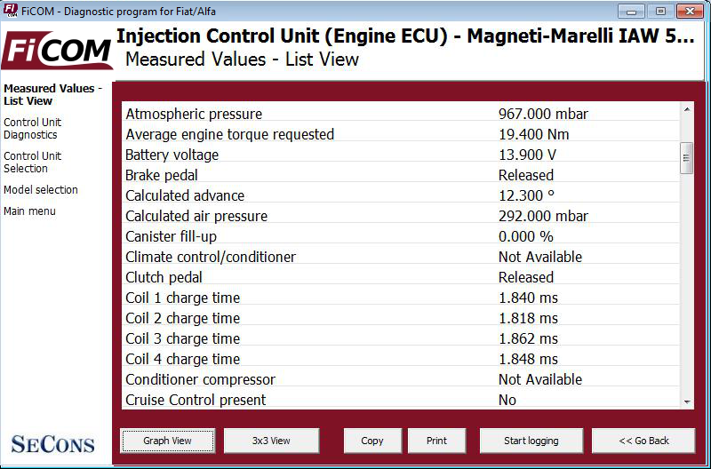 ficom10: OBD-II diagnostic program screenshot