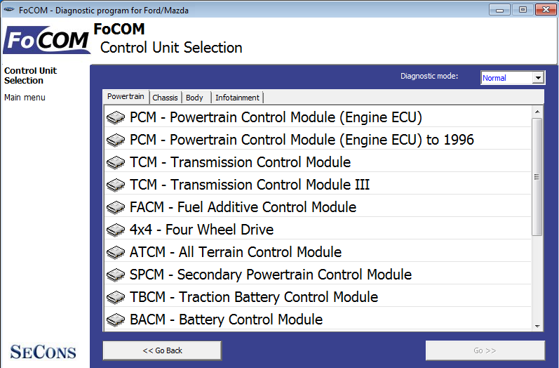 focom02: OBD-II diagnostic program screenshot