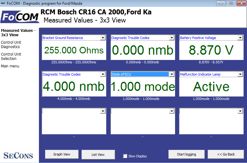 focom07: OBD-II diagnostic program screenshot