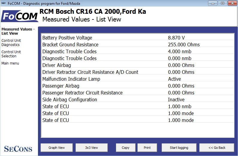 focom08: OBD-II diagnostic program screenshot