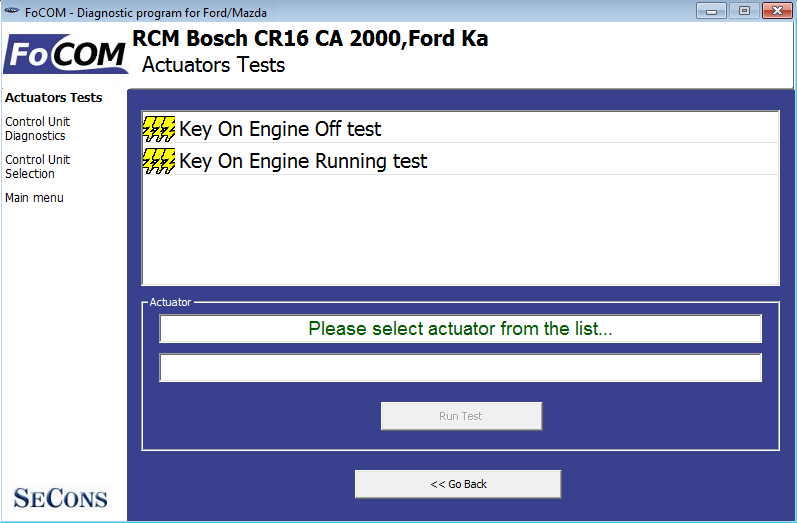 focom09: OBD-II diagnostic program screenshot