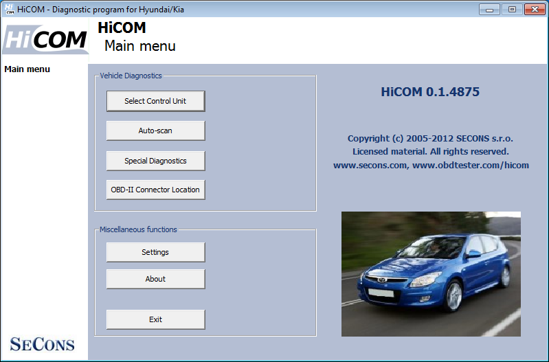 hicom01: OBD-II diagnostic program screenshot