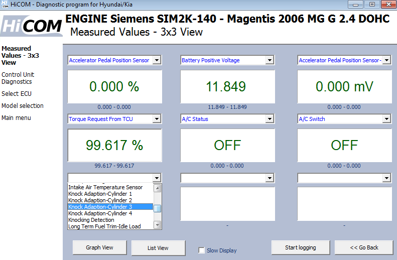 hicom09: OBD-II diagnostic program screenshot