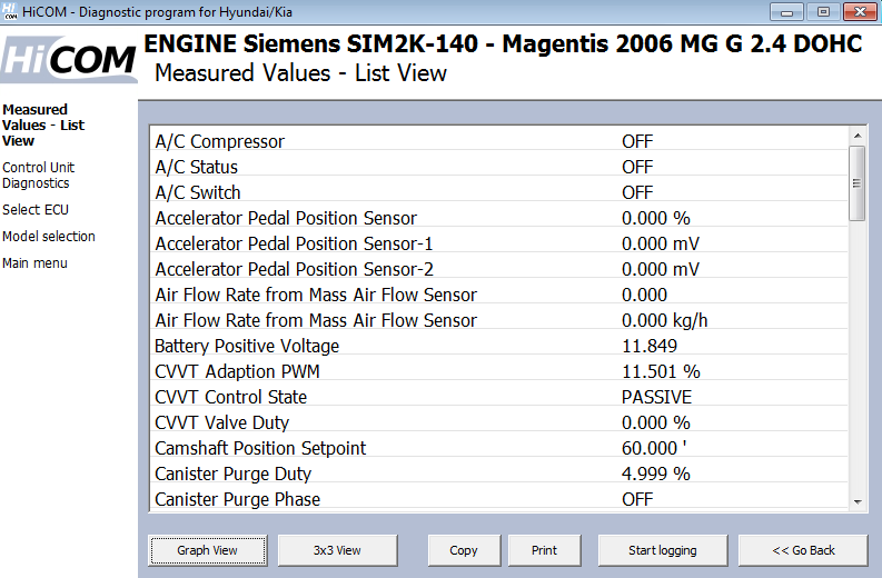 hicom10: OBD-II diagnostic program screenshot