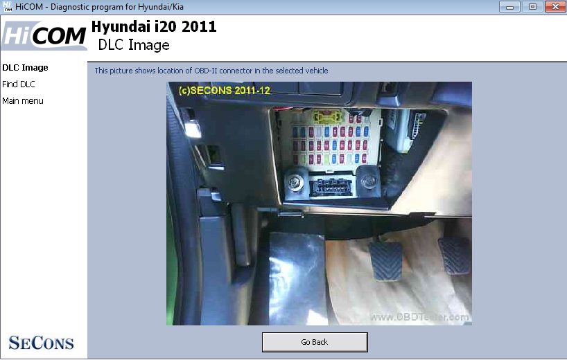 hicom15: OBD-II diagnostic program screenshot