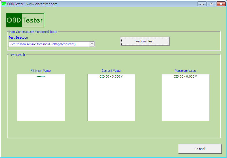 obdtester10: OBD-II diagnostic program screenshot