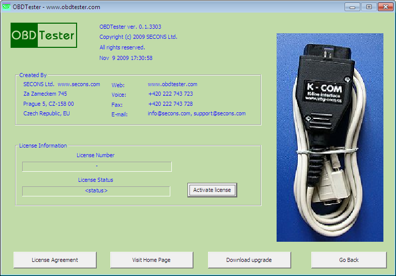 obdtester16: OBD-II diagnostic program screenshot