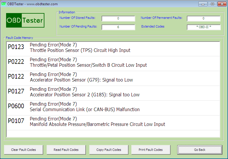 obdtester7: OBD-II diagnostic program screenshot