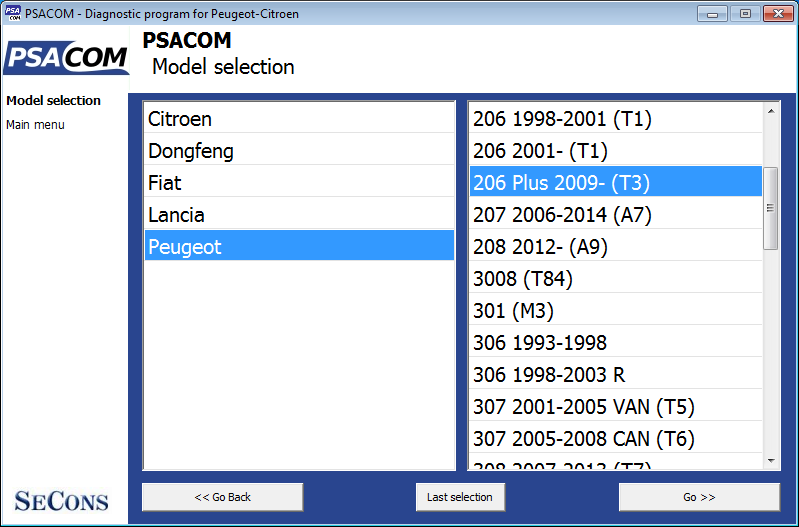 psacom02: OBD-II diagnostic program screenshot