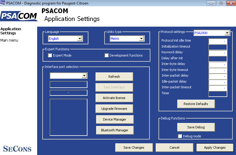 psacom17: OBD-II diagnostic program screenshot