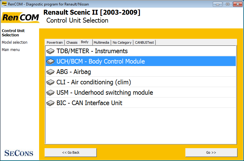 rencom03: OBD-II diagnostic program screenshot