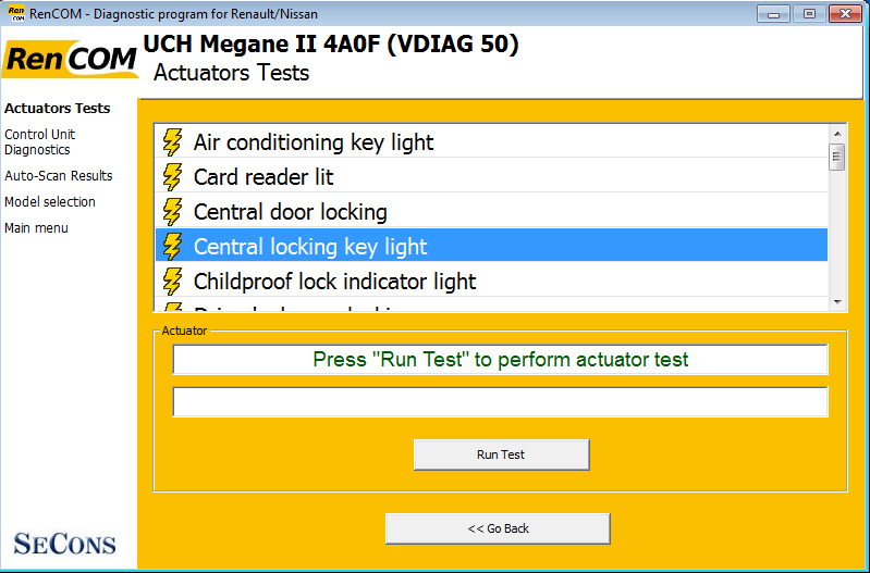 rencom11: OBD-II diagnostic program screenshot