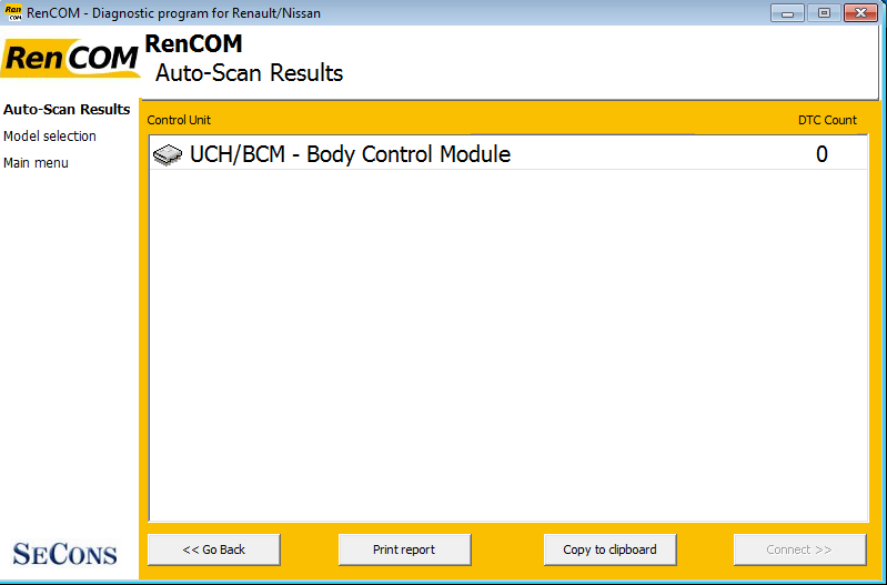 rencom14: OBD-II diagnostic program screenshot