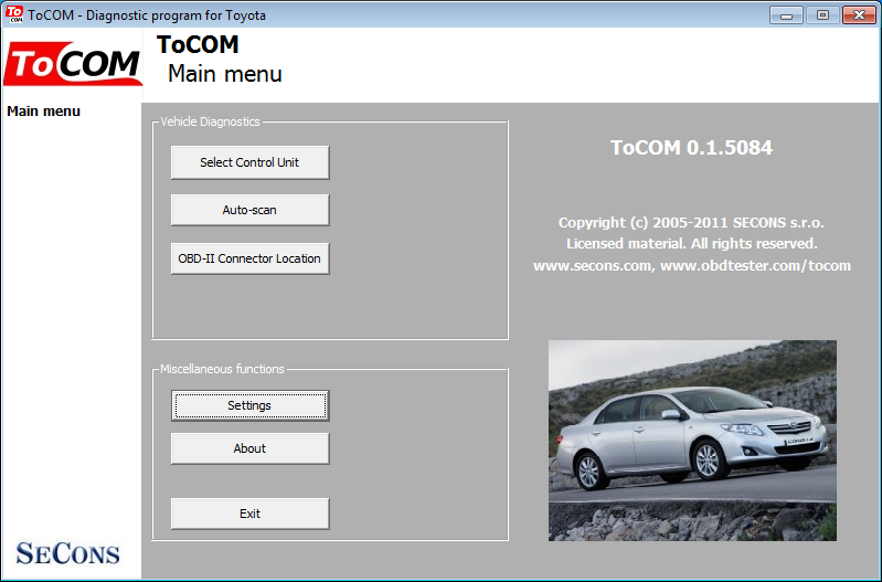 tocom01: OBD-II diagnostic program screenshot