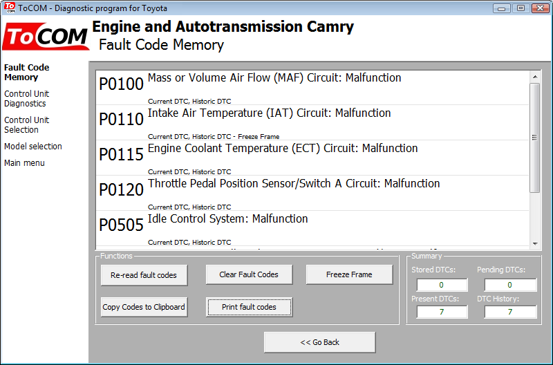 tocom06: OBD-II diagnostic program screenshot